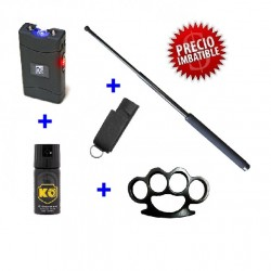 DEFENSA ELECTRICA MOD. 800 + DEFENSA EXTENSIBLE + FUNDA + PUÑO AMERICANO + SPRAY DEFENSA KO 40 ML