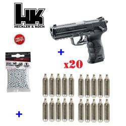 PISTOLA CO2 H&K HK45 BB 4.5 PAQUETE CON 500 BOLAS DE ACERO Y 20 CAPSULAS DE CO2 12 GRAMOS