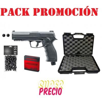 PACK T4E HDR PISTOLA CAL 50 CON MALETIN, 100 BOLAS DE GOMA Y 5 RECARGAS DE CO2
