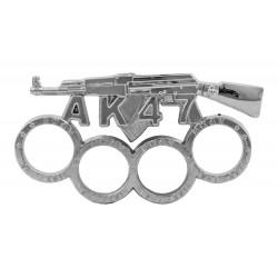 PUÑO AMERICANO EN ACERO MODELO AK47 EN COLOR PLATEADO CROMO